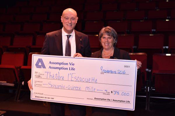 Un don de 75 000 $ de la part d'Assomption Vie pour la Fondation du théâtre l'Escaouette